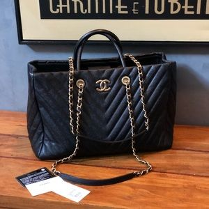 Chanel large chevron shopping tote